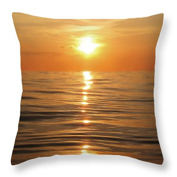 Sun Setting Over Calm Waters Throw Pillow