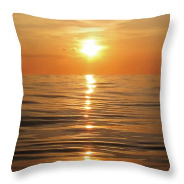 Sun Setting Over Calm Waters Throw Pillow by Nicklas Gustafsson