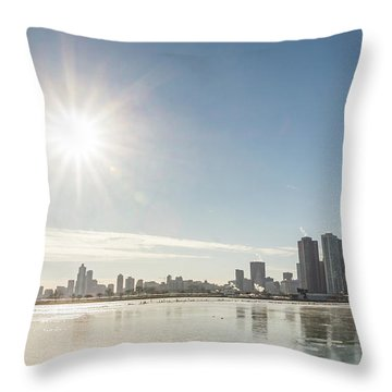 Sun Setting Over Chicago Throw Pillow