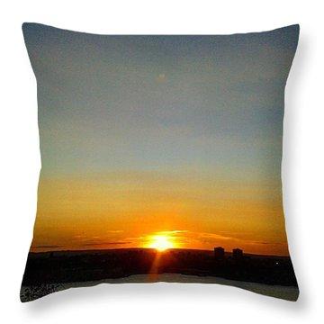 Sunset Over Hudson Throw Pillow