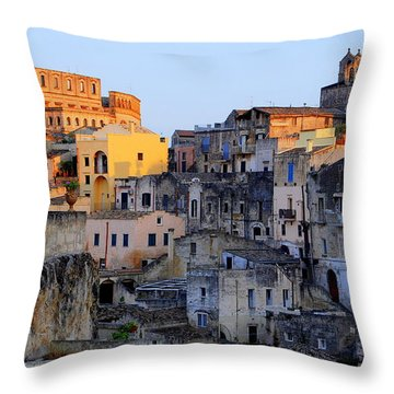 Sun Setting Over Sassi Throw Pillow by Caroline Stella