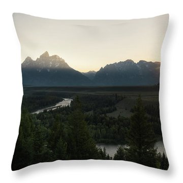 Sun Setting Over The Teton Range Throw Pillow