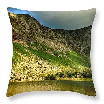 Sun Shining On Chimney Pond  Throw Pillow by Elizabeth Dow
