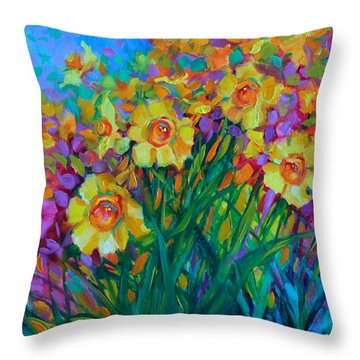 Sun Swept Daffodils Throw Pillow