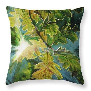 Sun Through Oak Leaves Throw Pillow