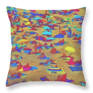 Throw Pillow featuring the digital art Sun Umbrellas by Pedro L Gili
