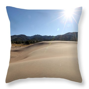 Sun Up At Great Dunes National Park Throw Pillow