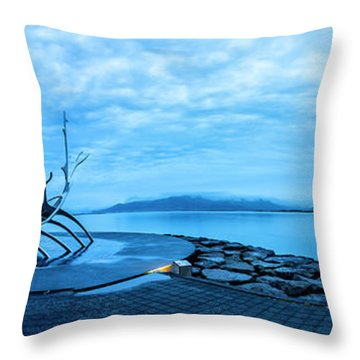 Sun Voyager Viking Ship In Iceland Throw Pillow