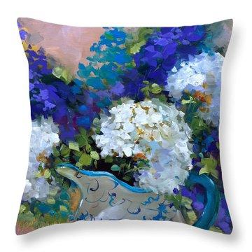 Sun Washed Hydrangeas Throw Pillow by Nancy Medina