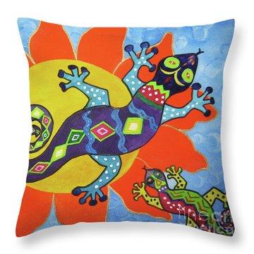 Sunbathing Lizards Throw Pillow