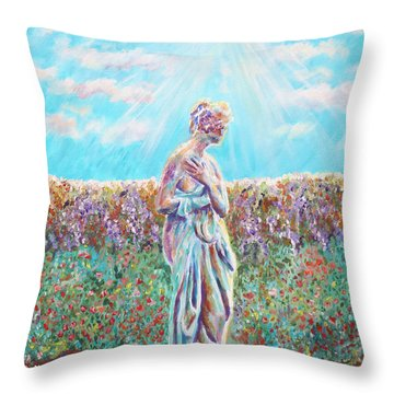 Throw Pillow featuring the painting Sunbeam by Elizabeth Lock