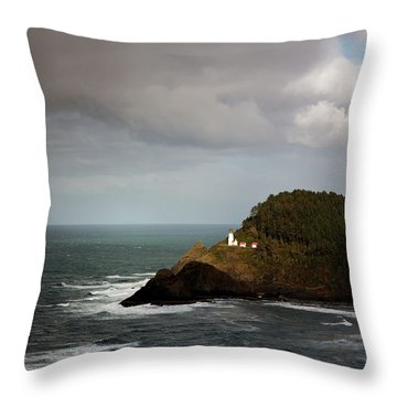 Throw Pillow featuring the photograph Sunbeam On The Lighthouse by Mary Jo Allen