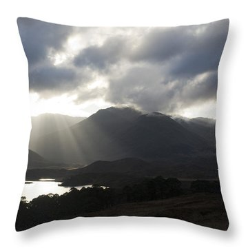 Sunbeams In Glen Affric Throw Pillow by Sue Arber