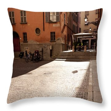 Sunbeams On A Quiet Street Throw Pillow by Rae Tucker
