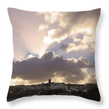 Throw Pillow featuring the photograph Sunbeams Over Church In Color by Nicholas Burningham