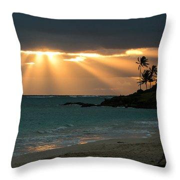 Sunburst At Kailua Throw Pillow