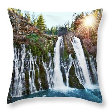 Sunburst Falls - Burney Falls Is One Of The Most Beautiful Waterfalls In California Throw Pillow
