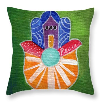 Sunburst Hamsa Throw Pillow
