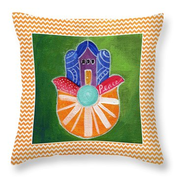 Sunburst Hamsa With Chevron Border Throw Pillow