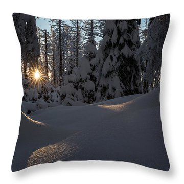 Sunburst In Winter Fairytale Forest Harz Throw Pillow
