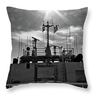 Sunburst Over Ferry To Cortez Throw Pillow