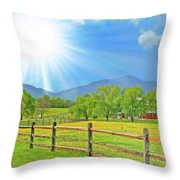 Sunburst Over Peaks Of Otter, Virginia Throw Pillow