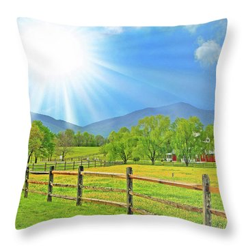 Sunburst Over Peaks Of Otter, Virginia Throw Pillow