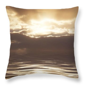 Sunburst Over Water Throw Pillow by Bill Cannon
