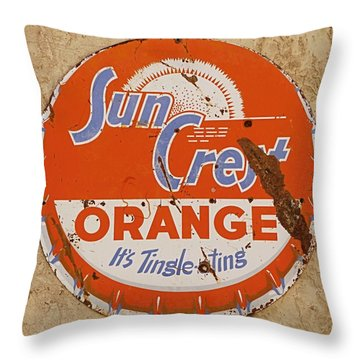 Suncrest Orange Soda Cap Sign Throw Pillow