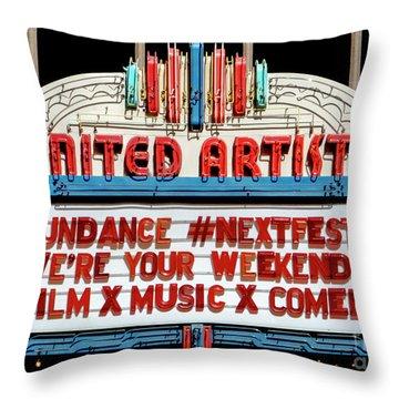 Sundance Next Fest Theatre Sign 1 Throw Pillow