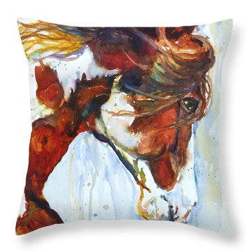 Throw Pillow featuring the painting Sundance by P Maure Bausch