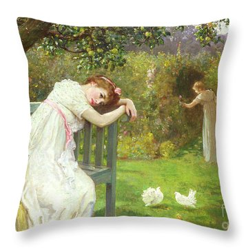 Sunday Afternoon - Ladies In A Garden Throw Pillow by English School
