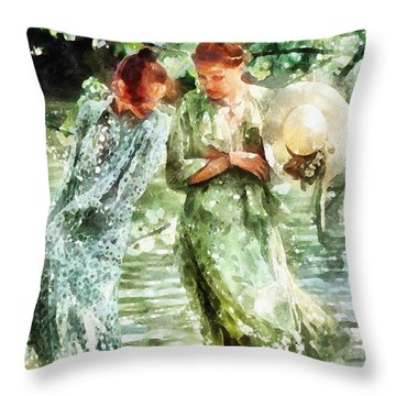 Sunday Afternoon By The Lake Throw Pillow by Shirley Stalter