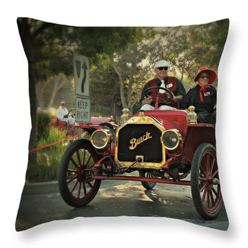 Sunday Drive In A 1910 Buick Throw Pillow
