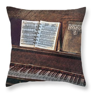 Sunday Hymns Throw Pillow by Marion Johnson