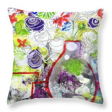 Sunday Market Flowers 3- Art By Linda Woods Throw Pillow by Linda Woods