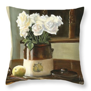 Throw Pillow featuring the painting Sunday Morning And Roses - Study by Marlene Book