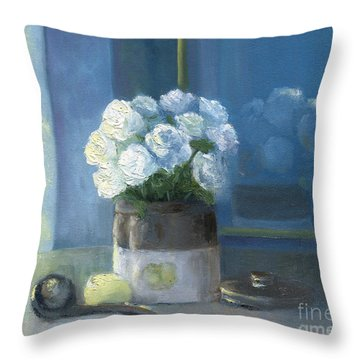 Sunday Morning And Roses - Blue Throw Pillow