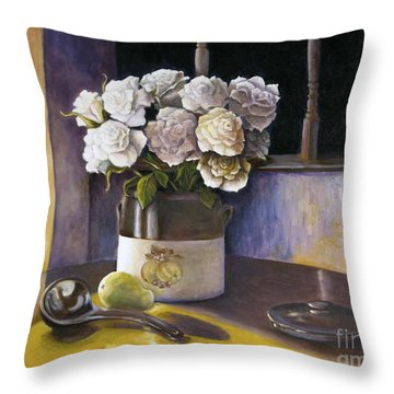 Throw Pillow featuring the painting Sunday Morning And Roses Redux by Marlene Book