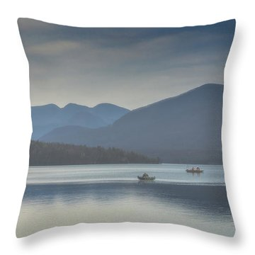 Throw Pillow featuring the photograph Sunday Morning Fishing by Chris Lord