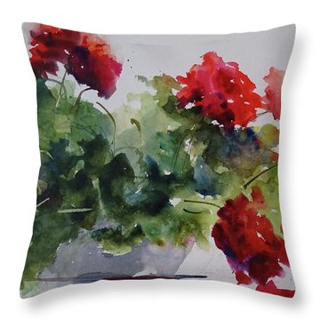 Sunday Morning Geraniums Throw Pillow