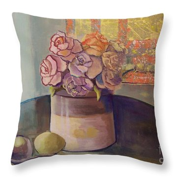 Sunday Morning Roses Through The Looking Glass Throw Pillow