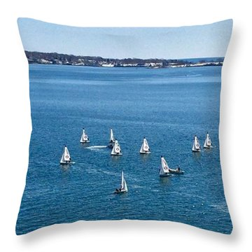 Sunday Sailing School On Casco Bay Throw Pillow