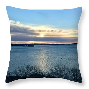 Sunday Sunrise On Casco Bay Throw Pillow
