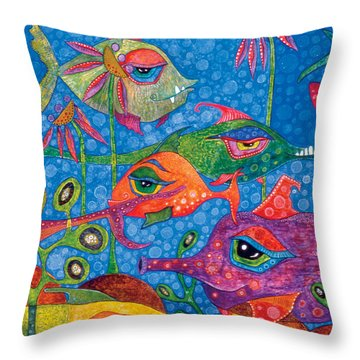 Sunday Swimmers Throw Pillow by Tanielle Childers