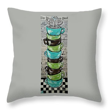 Sundays Cup A Joe Dark Roast Throw Pillow by Jackie Carpenter