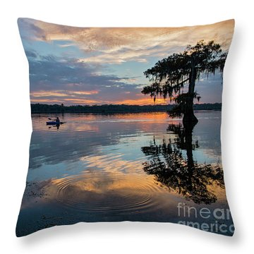 Throw Pillow featuring the photograph Sundown Kayaking At Lake Martin Louisiana by Bonnie Barry