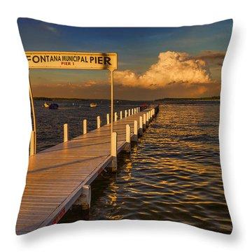 Sundown - Lake Geneva Wisconsin Throw Pillow