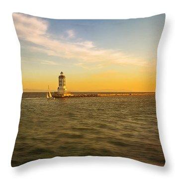Sundown Lighthouse Throw Pillow