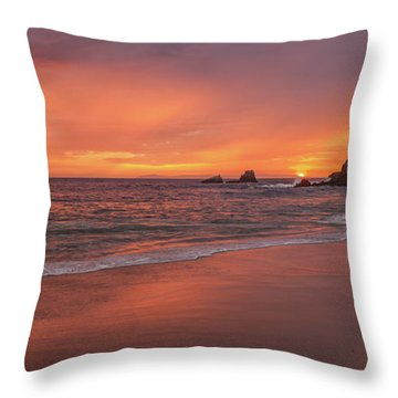 Sundown Over Crescent Beach Throw Pillow